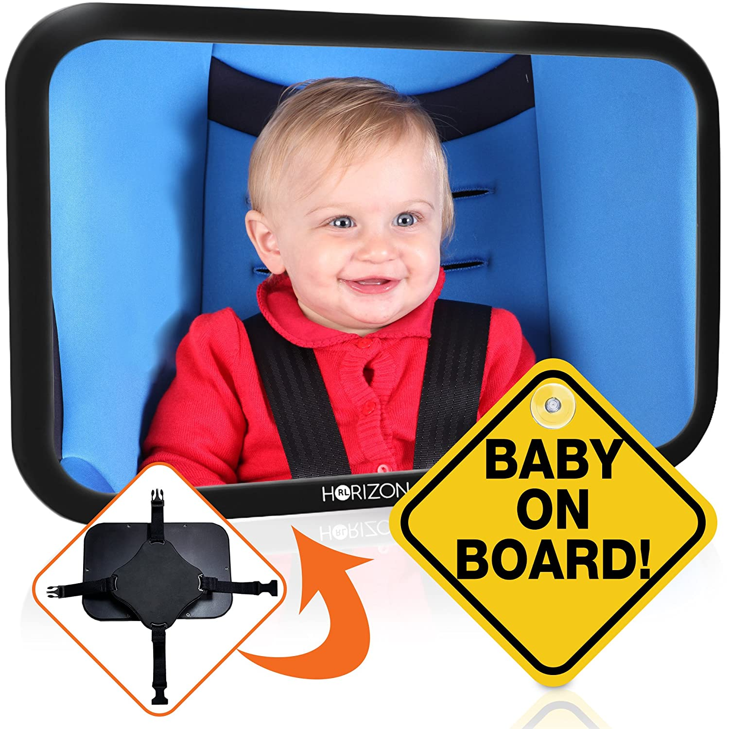 Premium Infant Carseat Mirror & Baby on Board Sign: View Backseat Without Risk! Headrest Mirrors for Parents in the Drivers Seat to See Their Kids in the Rear Seats. Car Travel Head Rest Accessories RL HORIZON