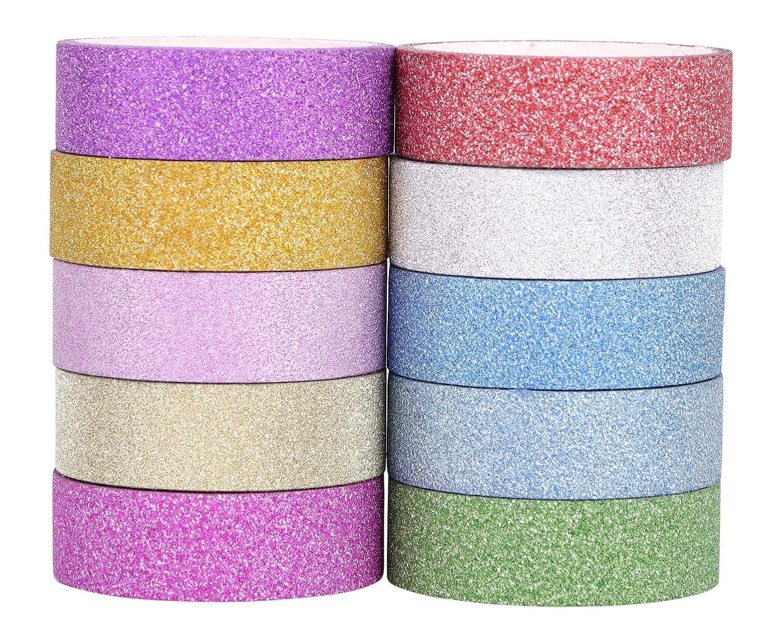 Juego de cintas de papel decorativas con purpurina, cinta con diseño washi (tradicional de la china) ideales para decoración del hogar, para manualidades, ...