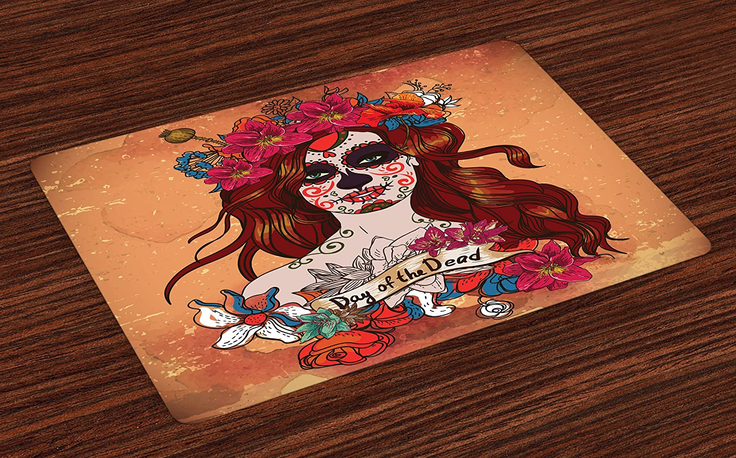 Ambesonne Day of The Dead Place Mats Set of 4, Dia de Los Muertos Spanish Culture Mexican Festive Skull Art, Washable Fabric Placemats for Dining Room Kitchen Table Decor, Cinnamon Magenta Maroon