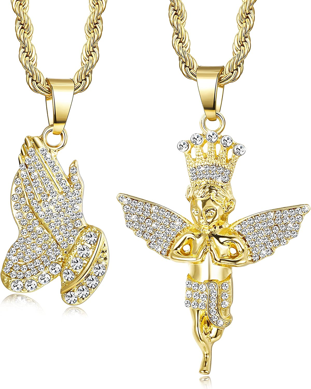 "Jstyle 2Pcs Gold Plated Necklaces for Women Men Prayer Hand Angel Pendant Necklace Ice Out Hip Hop Rope Chain 24"" 30"""