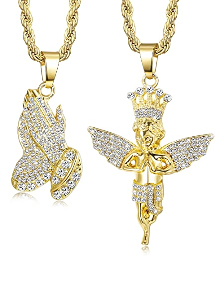 Jstyle 2Pcs Gold Plated Necklaces for Women Men Prayer Hand Angel ... bb93f220a