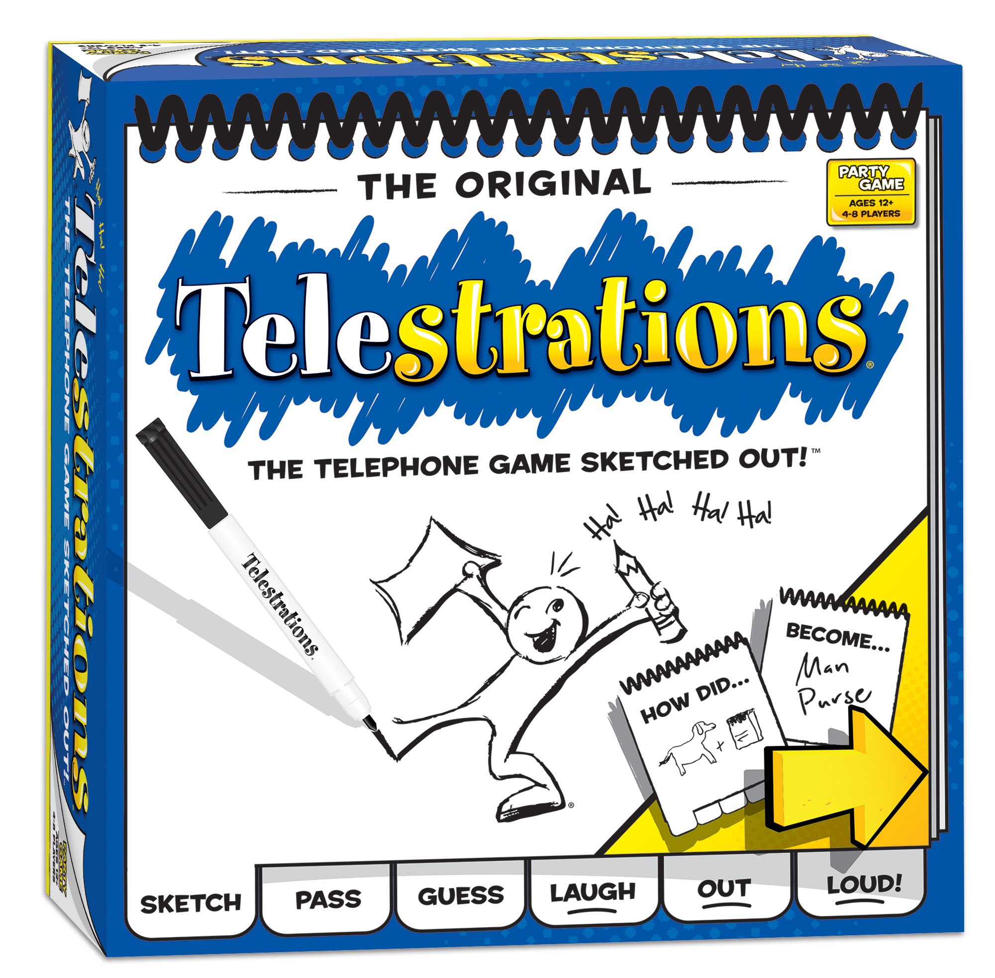 USAOPOLY Telestrations Original 8 Player | Family Board Game | A Fun Family Game for Kids and Adults | Family Game Night Just Got Better | The Telephone Game Sketched Out by USAOPOLY