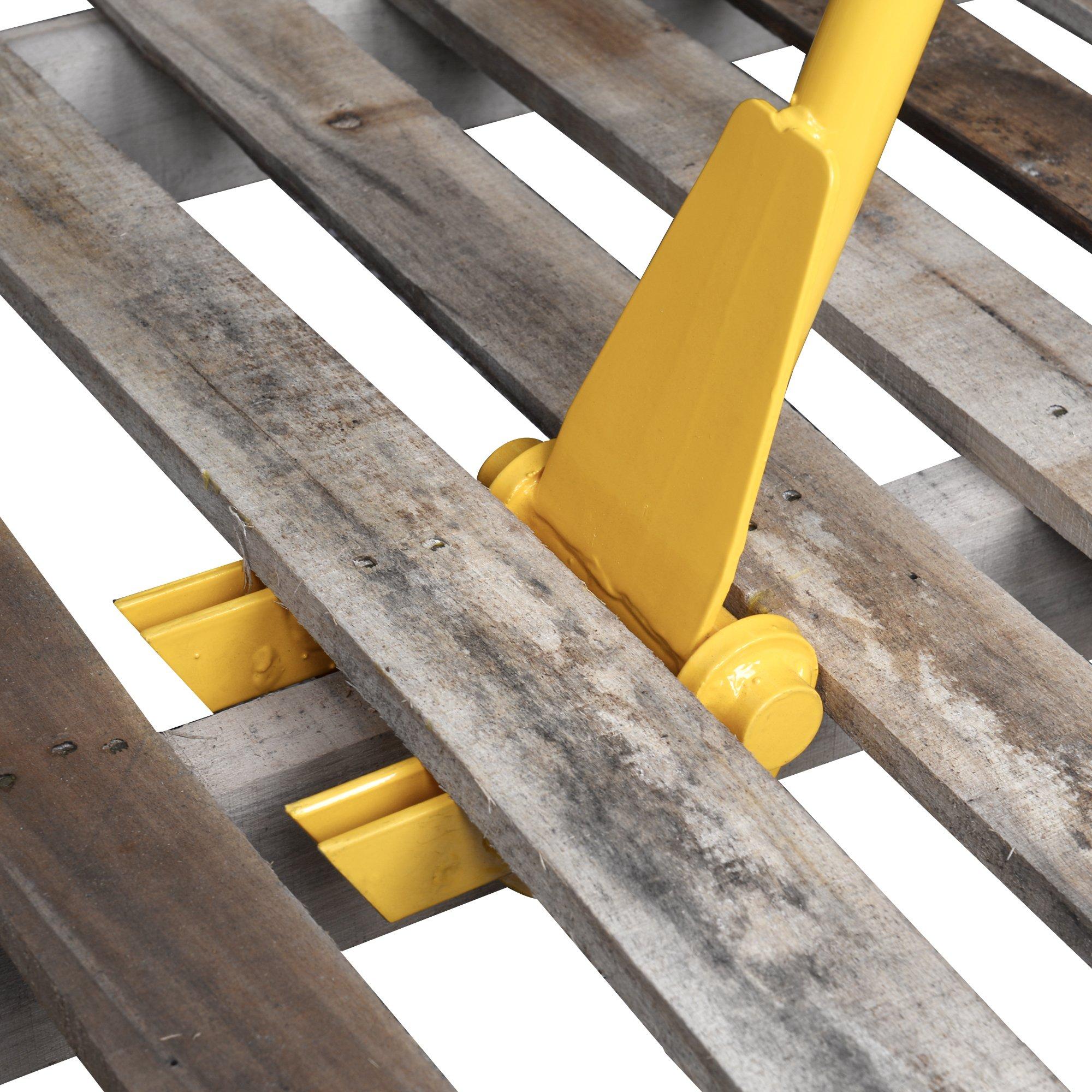 TIME SAVER - Pallet Buster Industrial Pry Bar For Easy Wood Pallet Destruction and Dismantler Premium Global Wood Breaker For Logistics Shippers Warehouses Anti Slip Grip Handles 41'' BL by 12Vmonster (Image #3)