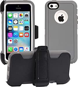 AlphaCell Cover Compatible with iPhone 5C (Only) | 2-in-1 Screen Protector & Holster Case | Full Body Military Grade Protection with Carrying Belt Clip | Drop Proof Shockproof Protective |