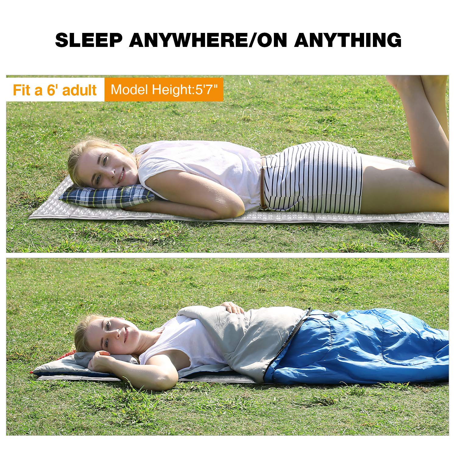 Blue//Grey 22 Wide Lightweight Folding Camping Pad for Hiking Backpacking REDCAMP Closed Cell Foam Camping Sleeping Pad 72x22x0.75