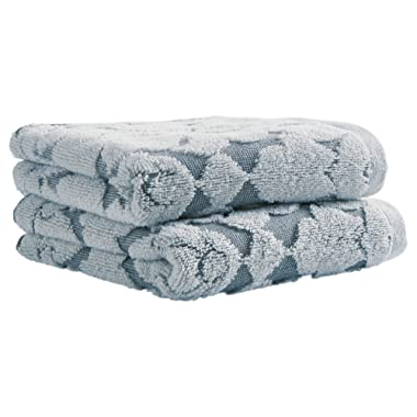 Stone & Beam Flora Jacquard Cotton Hand Towel Set, 2-Pack, Regatta