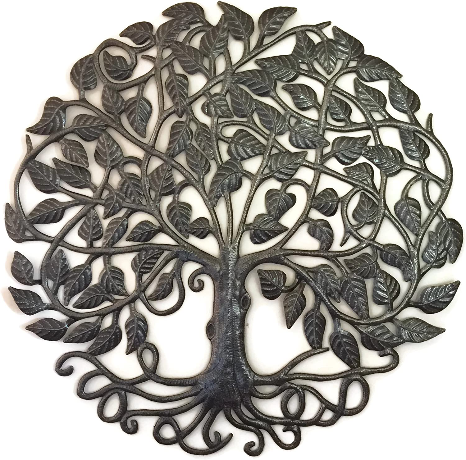 Large Metal Tree of Life with Roots, Family Room Statement Art, Handmade in Haiti by Julio Balan, Metal Wall Home Decor, 33 in. Round