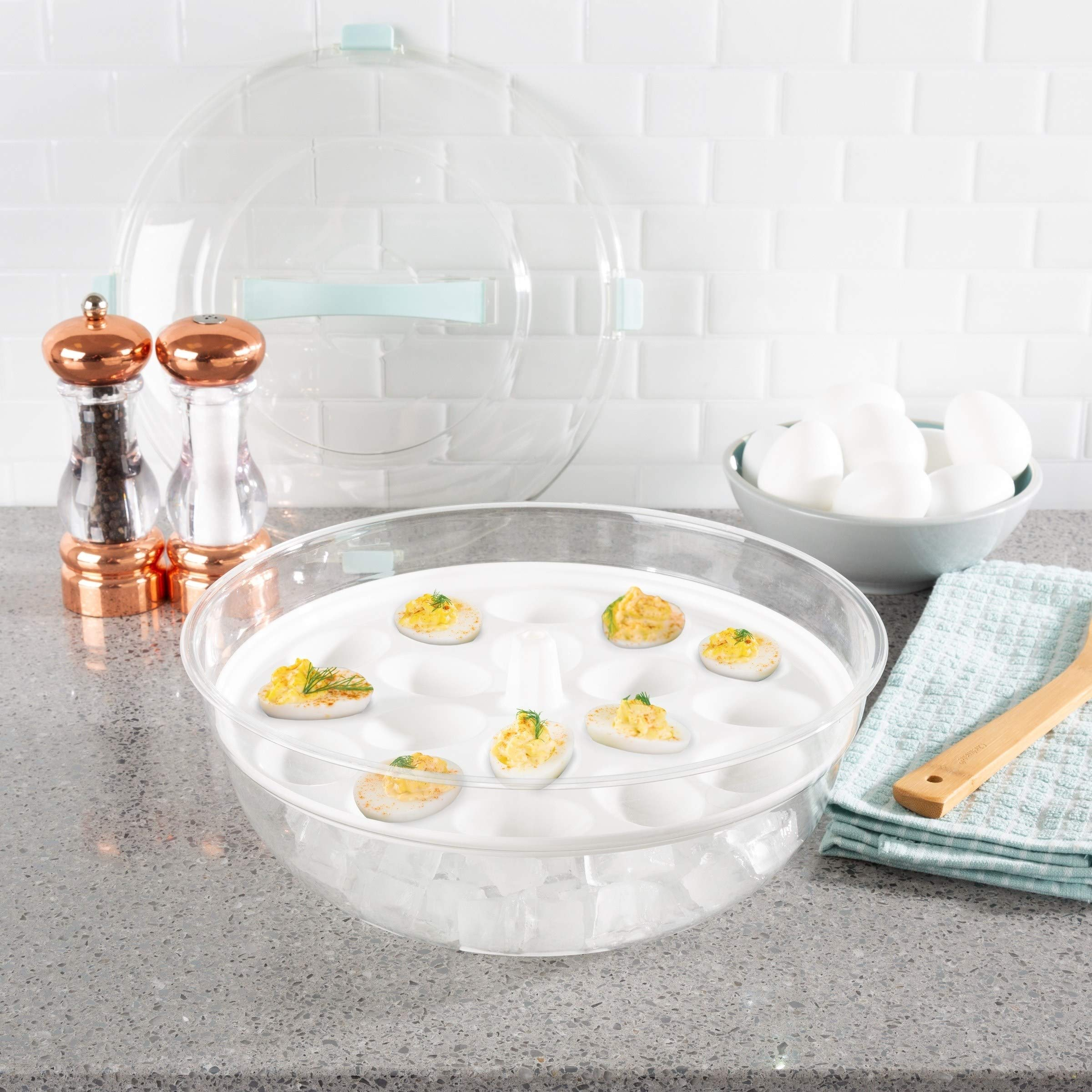 MISC Clear Deviled Egg Tray with Lid Bowl Cold Appetizer Tray Platter with Ice Compartment 4 in 1 Carrier Dish Round Serving Platters White, Plastic