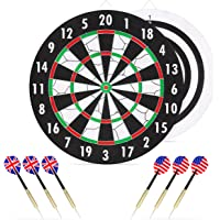 Double-Sided Dart Board Hobby Game Set w/6 Brass-Tip Darts