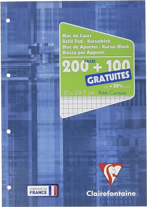 Clairefontaine 65816c Un Bloc De Cours Encollé Grand Côté 300 Pages 200 100 Gratuites 90g Petits Carreaux Couverture Carte