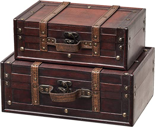 SLPR Decorative Suitcase with Straps (Set of 9, Brown)  Old-Fashioned  Antique Vintage Style Nesting Trunks for Shelf Home Decor Birthday Parties