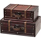 Amazon vintiquewisetm old world map wooden trunkbox set of 2 slpr decorative suitcase with straps set of 2 brown old fashioned gumiabroncs Image collections