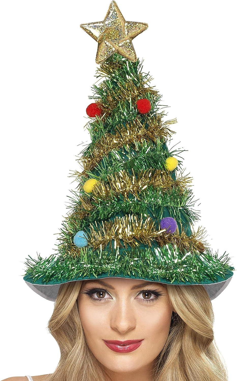 Smiffy's-41067 Gorro de árbol de Navidad, color verde, Tamaño único (41067)