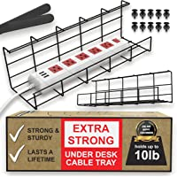Under Desk Cable Management Tray - Under Desk Cable Organizer for Wire Management. Super Sturdy Desk Cable Tray. Perfect…