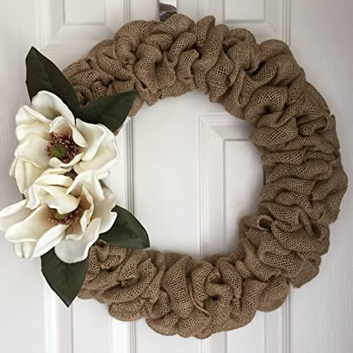 Amazon Rustic Burlap Winter Wreath For Front Door White