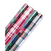 Paquete de papel de regalo de Navidad reversible Hallmark, papel de aluminio para niños (paquete de 3, 60 m²) m². ttl.)
