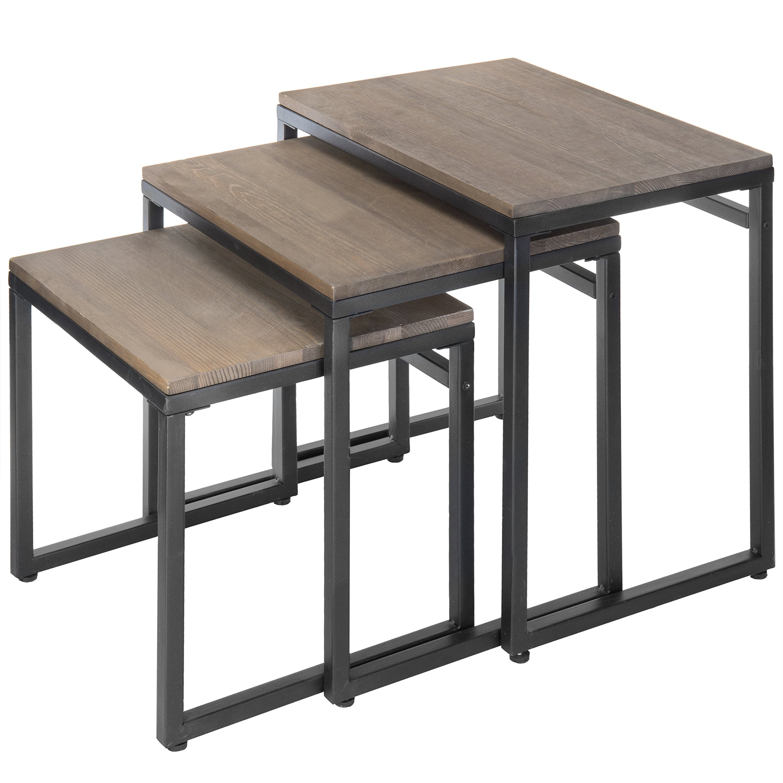 MyGift Set of 3 Brown Wood Nesting End Tables with Black Metal Frame by MyGift