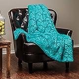 "Chanasya Super Soft Fuzzy Fur Faux Fur Cozy Warm Fluffy Beautiful Geometric Pattern Plush Sherpa Teal Fur Microfiber Throw Blanket ( 50"" x 65"" )- Teal Green Round Geometric Pattern"