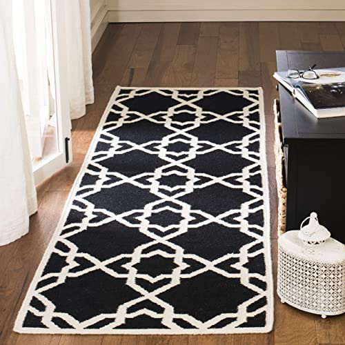 Safavieh Dhurries Collection DHU548L Hand Woven Black and Ivory Premium Wool Runner 2 6 x 6