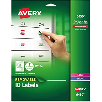 avery removable round labels 1 inch diameter white