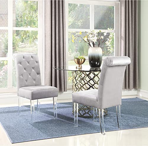 Chic Home Tate Velvet Upholstered Dining Chair Set of 2 Silver