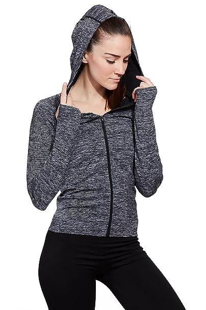 fb64eebea2f46d Sweet Romeo Active Women s Seamless Compression Hooded Long Sleeve Jacket