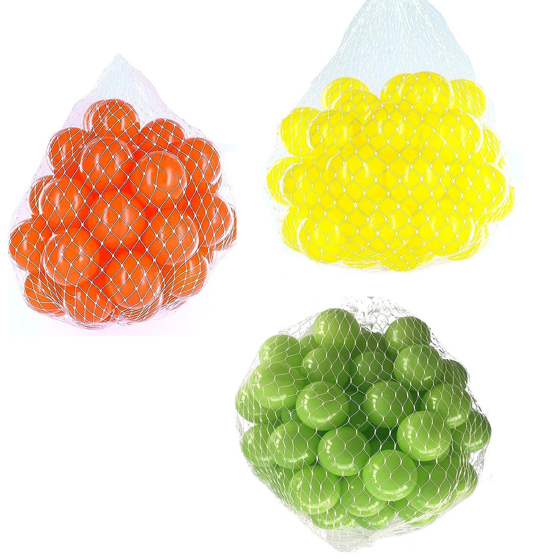6000 Bälle für Bällebad gemischt mix mit hellgrün, gelb und Orange