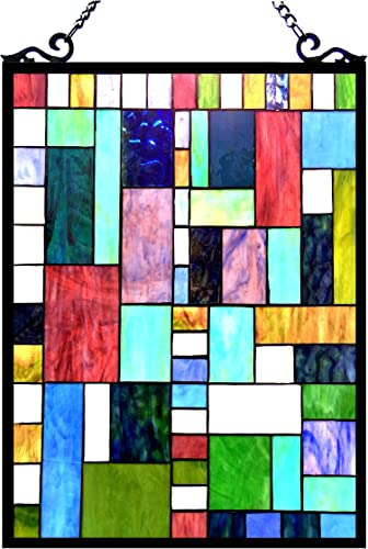 Chloe Lighting 18×24 Picasso Tiffany-Glass Rectangle Window Panel, One Size