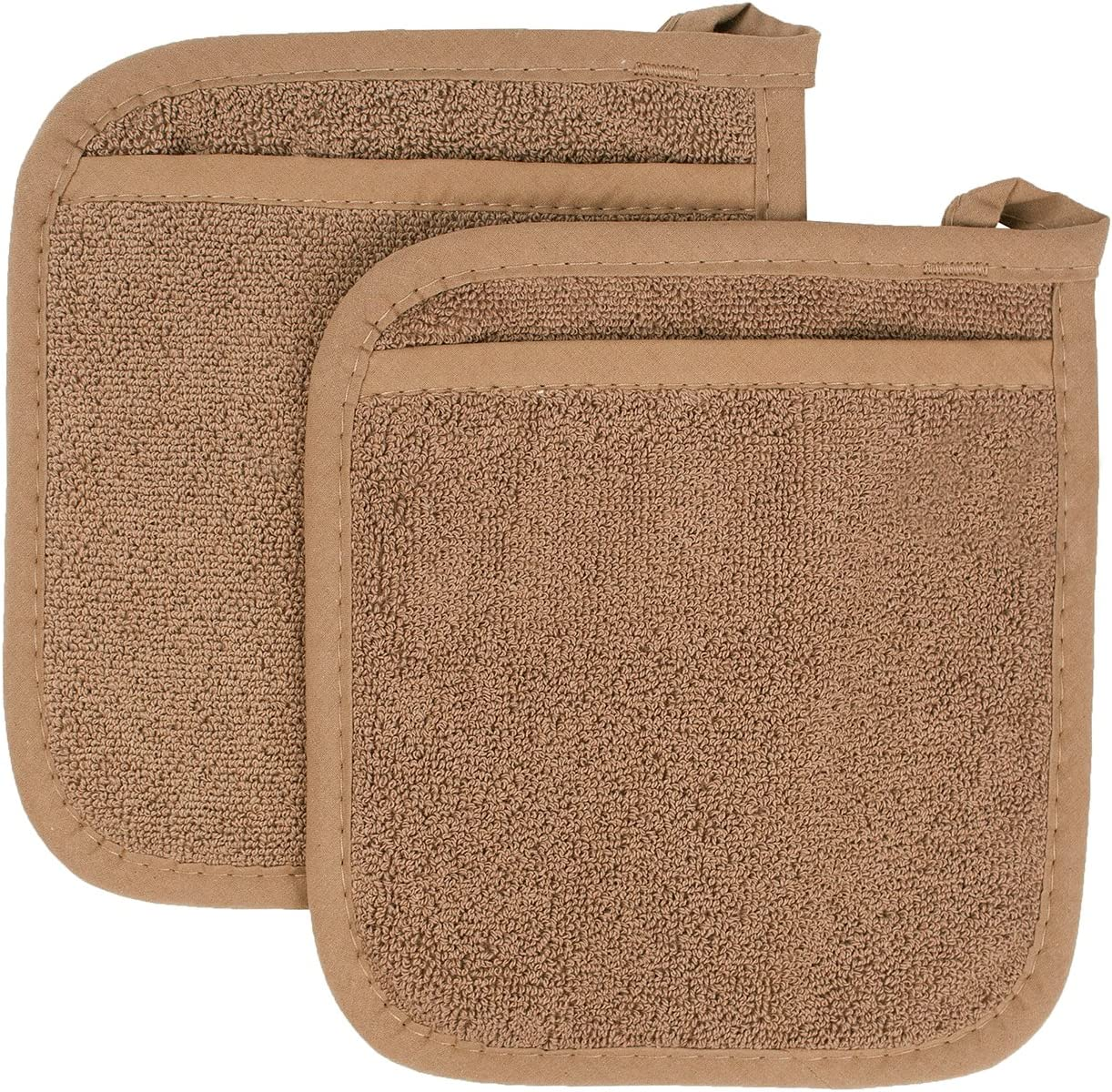 Ritz Royale Collection 100% Cotton Terry Cloth Pocket Mitt Set, Dual-Function Hot Pad/Pot Holder, 2-Piece, Mocha Brown