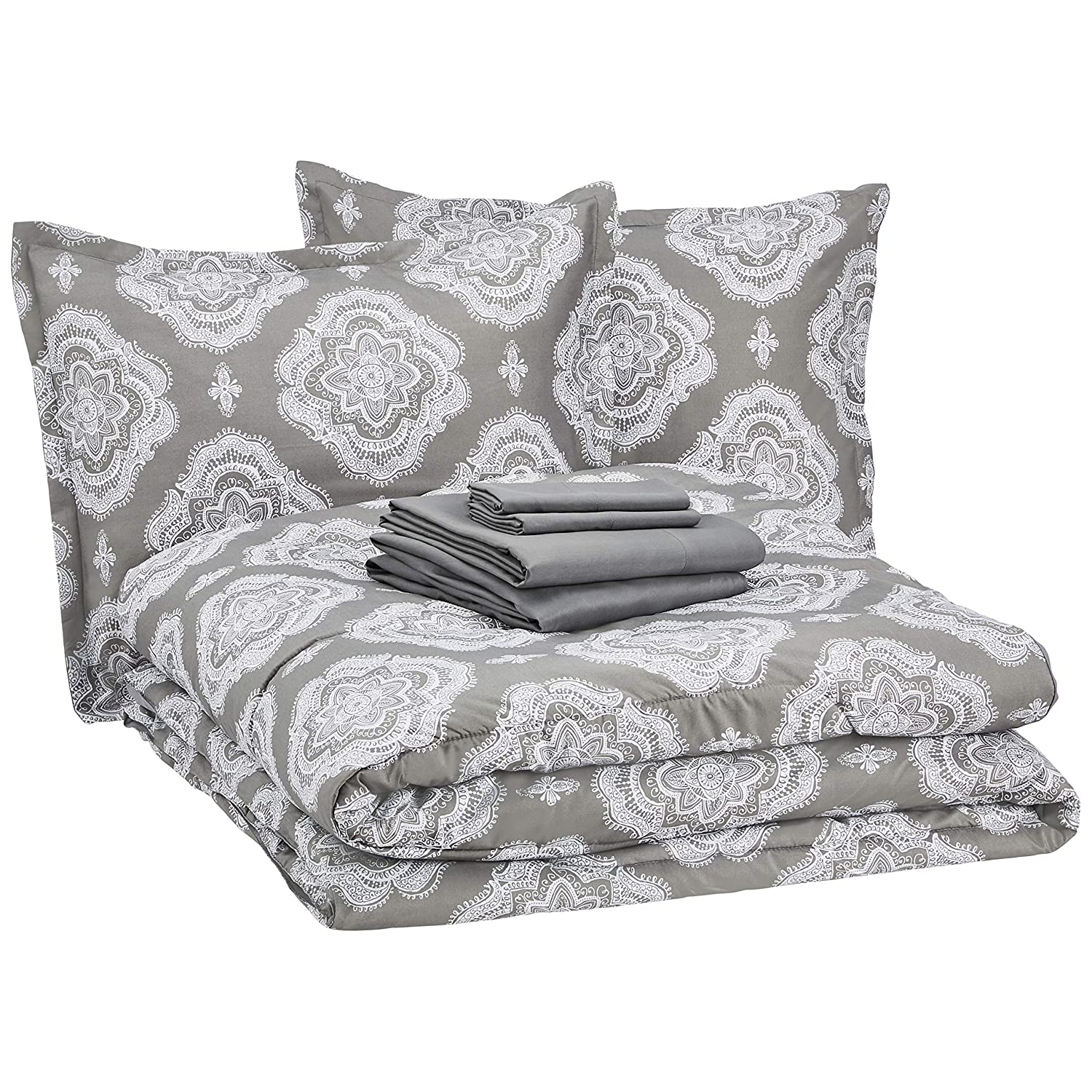AmazonBasics Bed-in-a-Bag - Soft, Easy-Wash Microfiber - 8-Piece Full/Queen, Grey Medallion