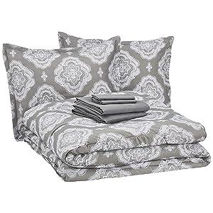 AmazonBasics 8-Piece Comforter Bedding Set, King, Grey Medallion, Microfiber, Ultra-Soft