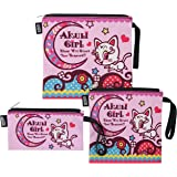 QOGiR Reusable Snack Bags and Sandwich Bags with Handle (Set of 3): Lead-free,BPA-free,PVC-free,FDA PASSED (Cat)