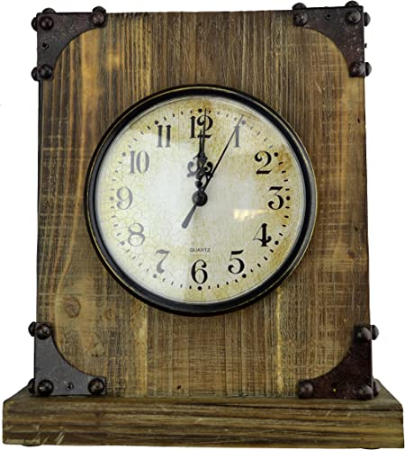 Lulu Decor, Reclaimed Wood, Shabby Chic Rustic Wood Tabletop Clock with Antique Look. Key Holder in Hidden Area Desk Clock