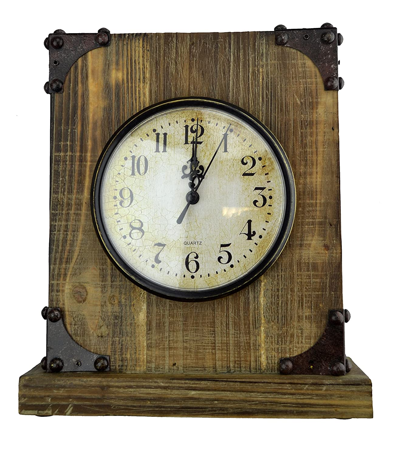 Amazoncom Lulu Decor Shabby Chic Rustic Wood Tabletop Clock With