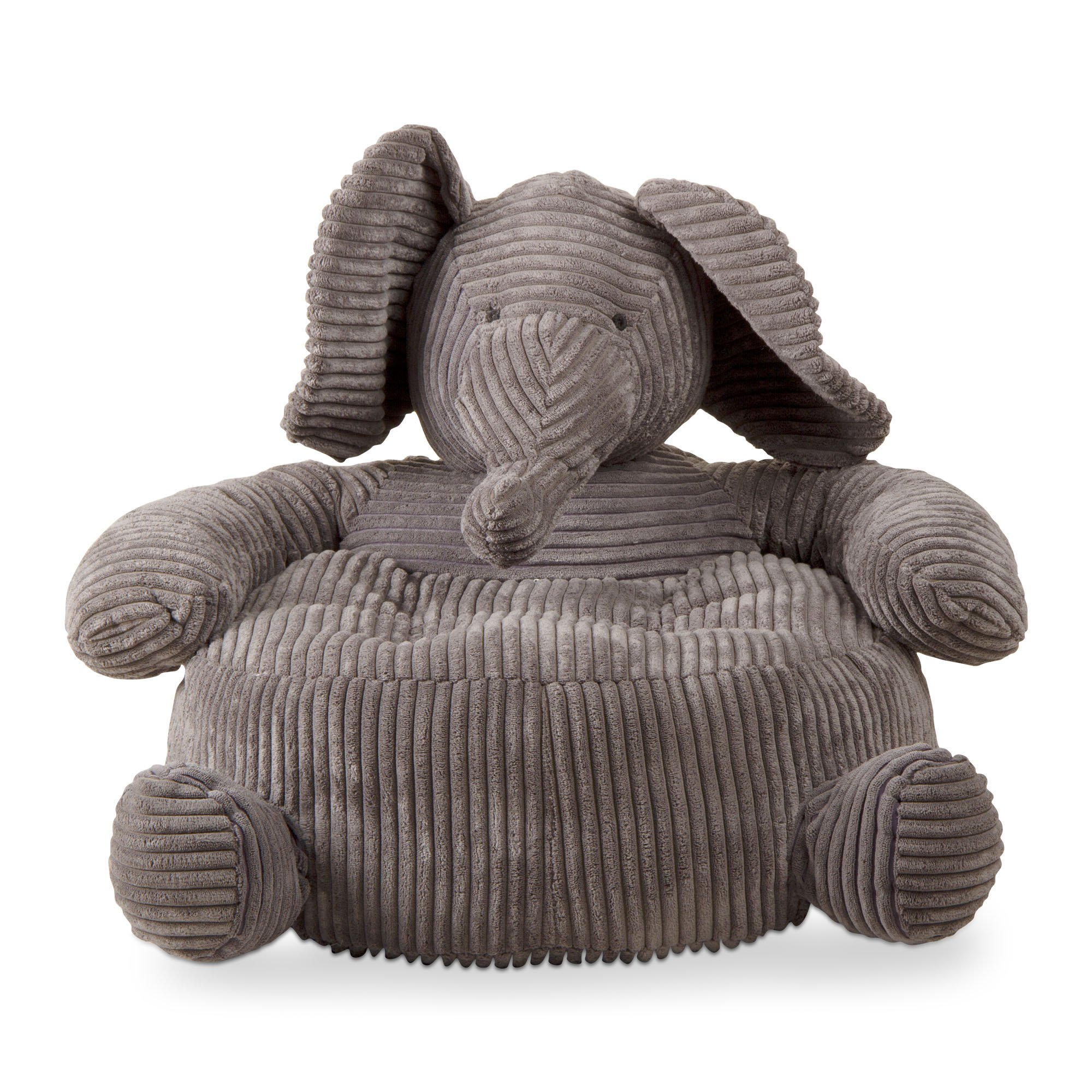 tag - Elephant Corduroy Plush Chair, Perfectly Designed for Your Child's Room or Nursery, Gray by tag