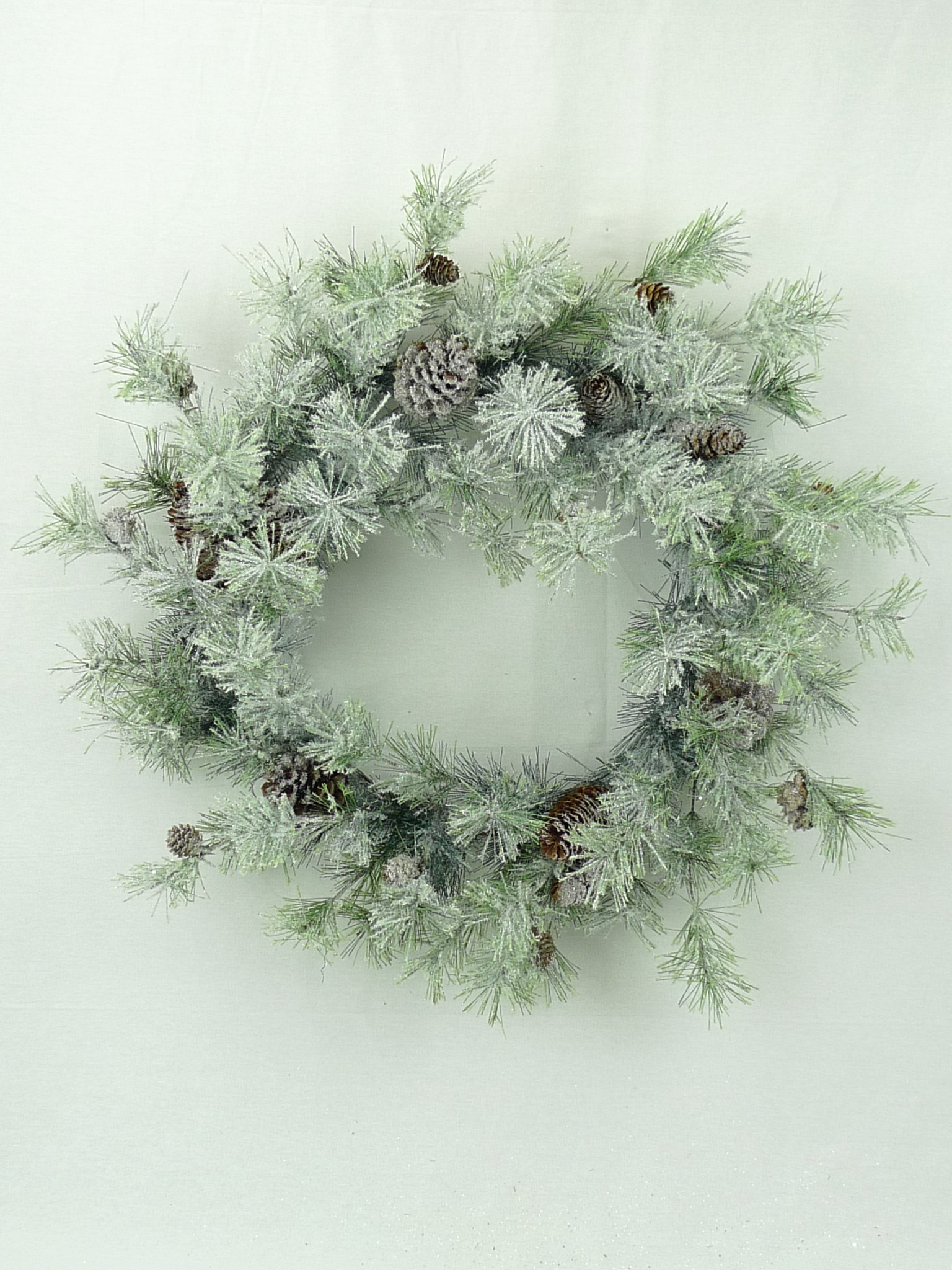 JMB Arctic Pine Christmas Wreath or Garland with ICY Snow Pine Branches and Pinecones (24'' Wreath)