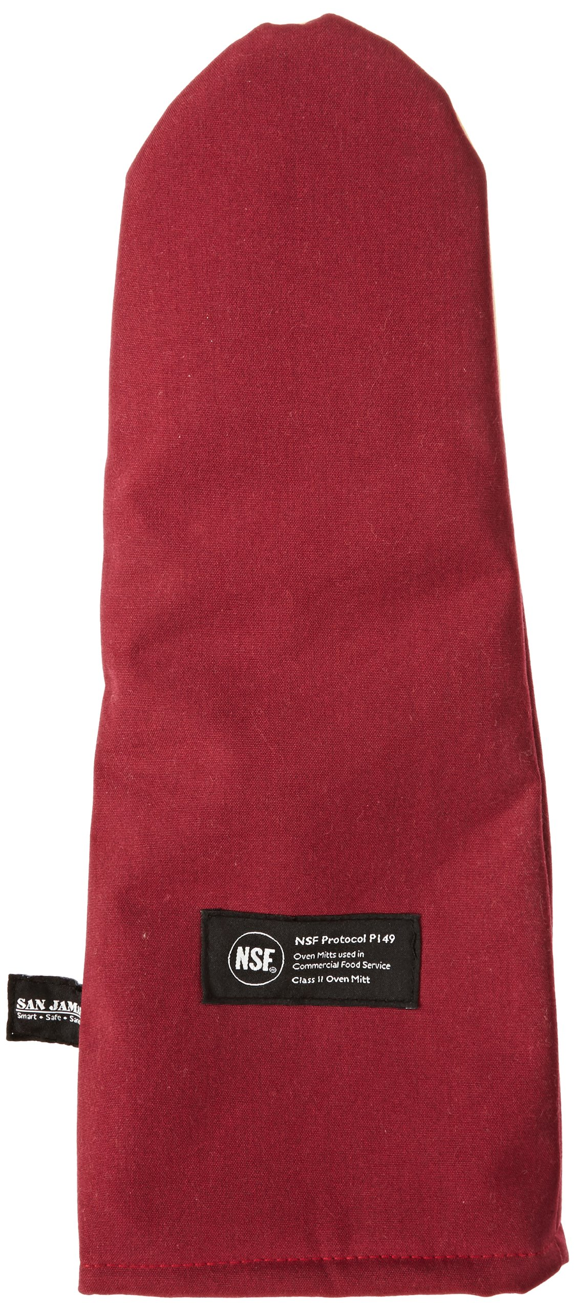 San Jamar KT0118K Kool-Tek Nomex Puppet Temperature Protection Oven Mitt with Kevlar, 17'' Length, Red by San Jamar