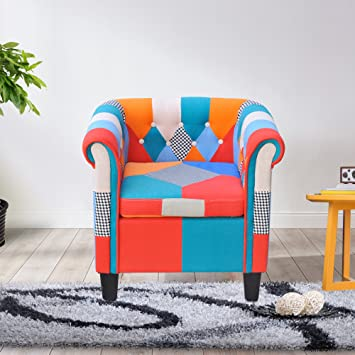 Cloud Mountain Multi Color Armchair Patchwork Classic Tufted Button Fabric  Sofa Couch Modern Living Room