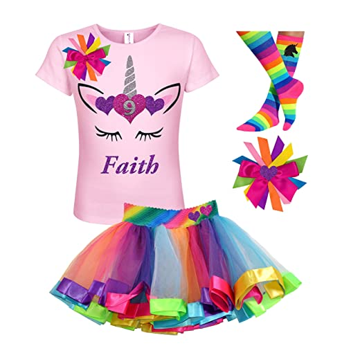 697288450575 Amazon.com: 9th Birthday Personalized Unicorn Face Shirt Gold Horn Tutu  Outfit Girls 4PC Gift Set: Handmade