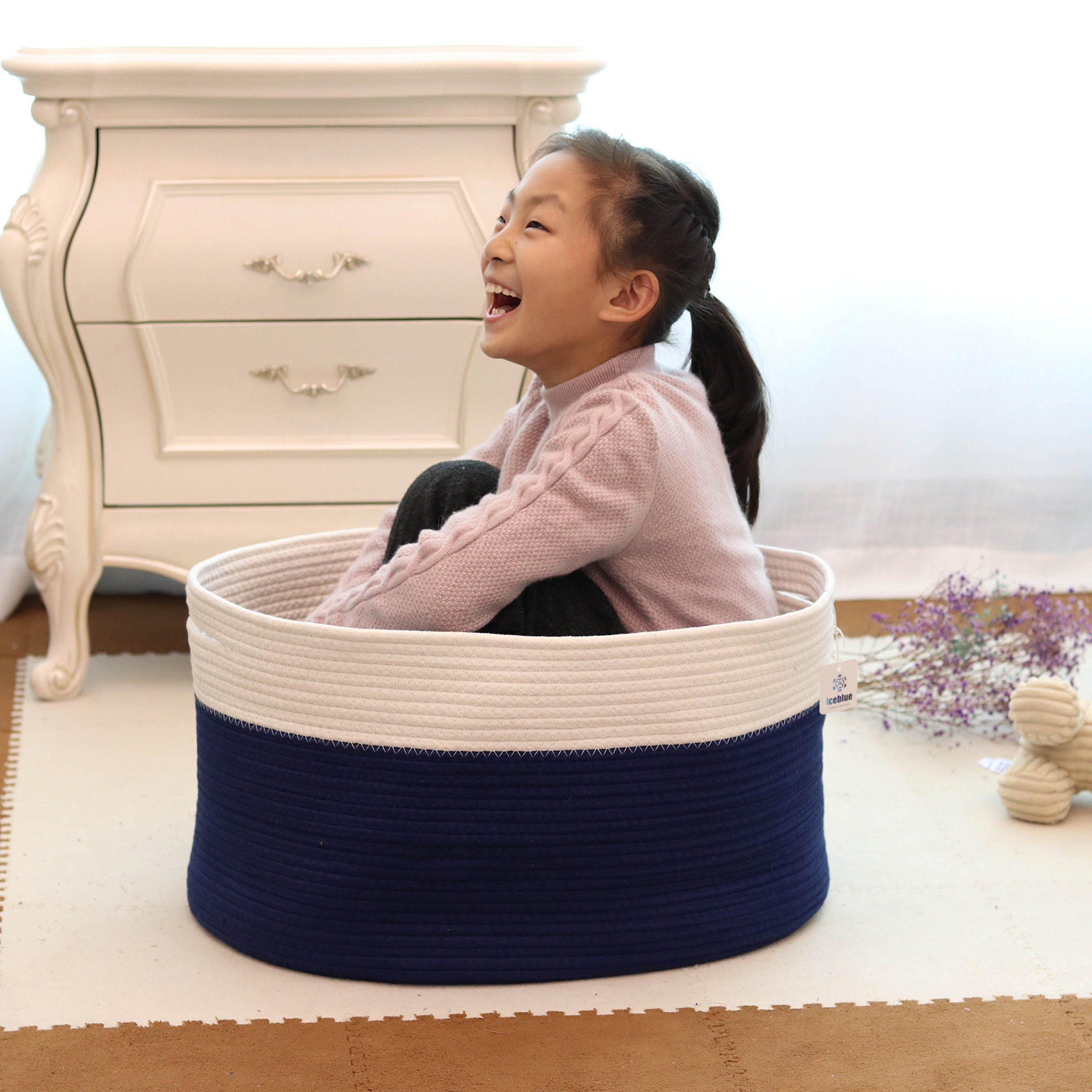 ICEBLUE HD Extra Large Cotton Rope Toy Organizer Floor Basket Big Collapsible Nursery Storage Basket Large Storage Basket for Blankets