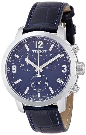 Tissot Blue Dial Ss Leather Chronograph Quartz Men S Watch T0554171604700