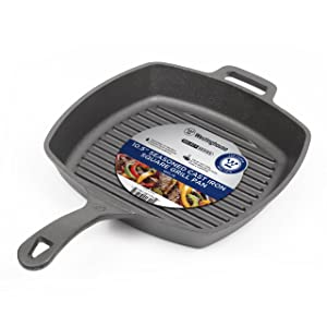 Westinghouse Pre-seasoned Cast Iron 10 1/2 Inch Square Grill Pan, WFL75