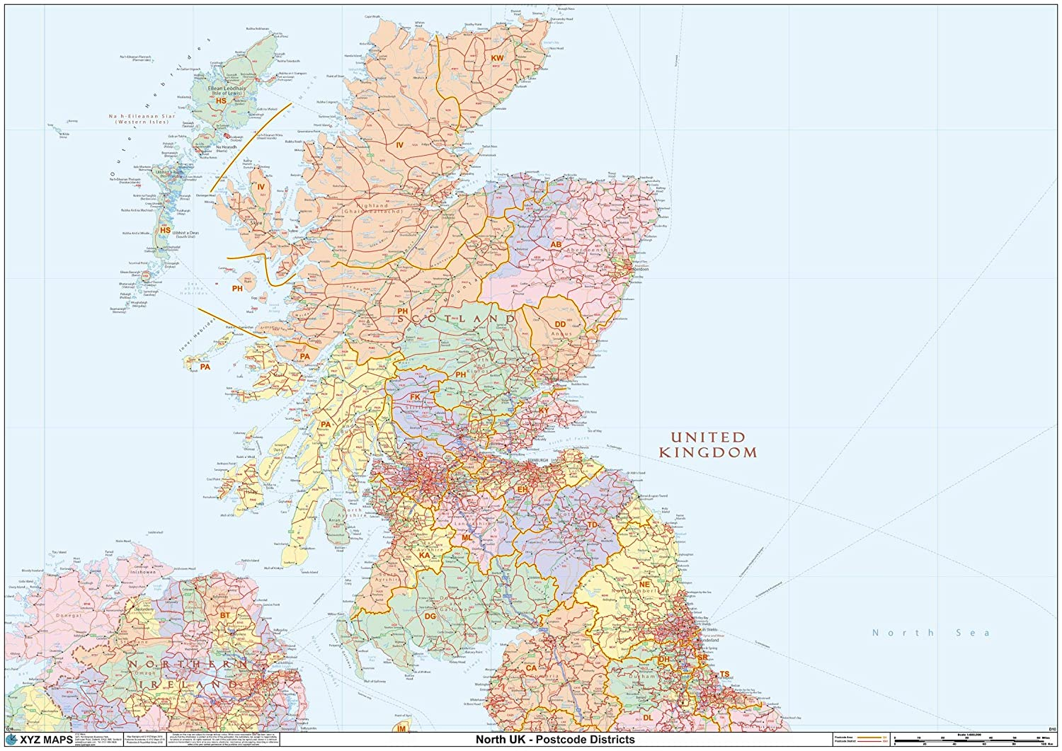 Map Of Uk By Postcode.Scotland Postcode District Wall Map D10 47 X 33 25 Paper