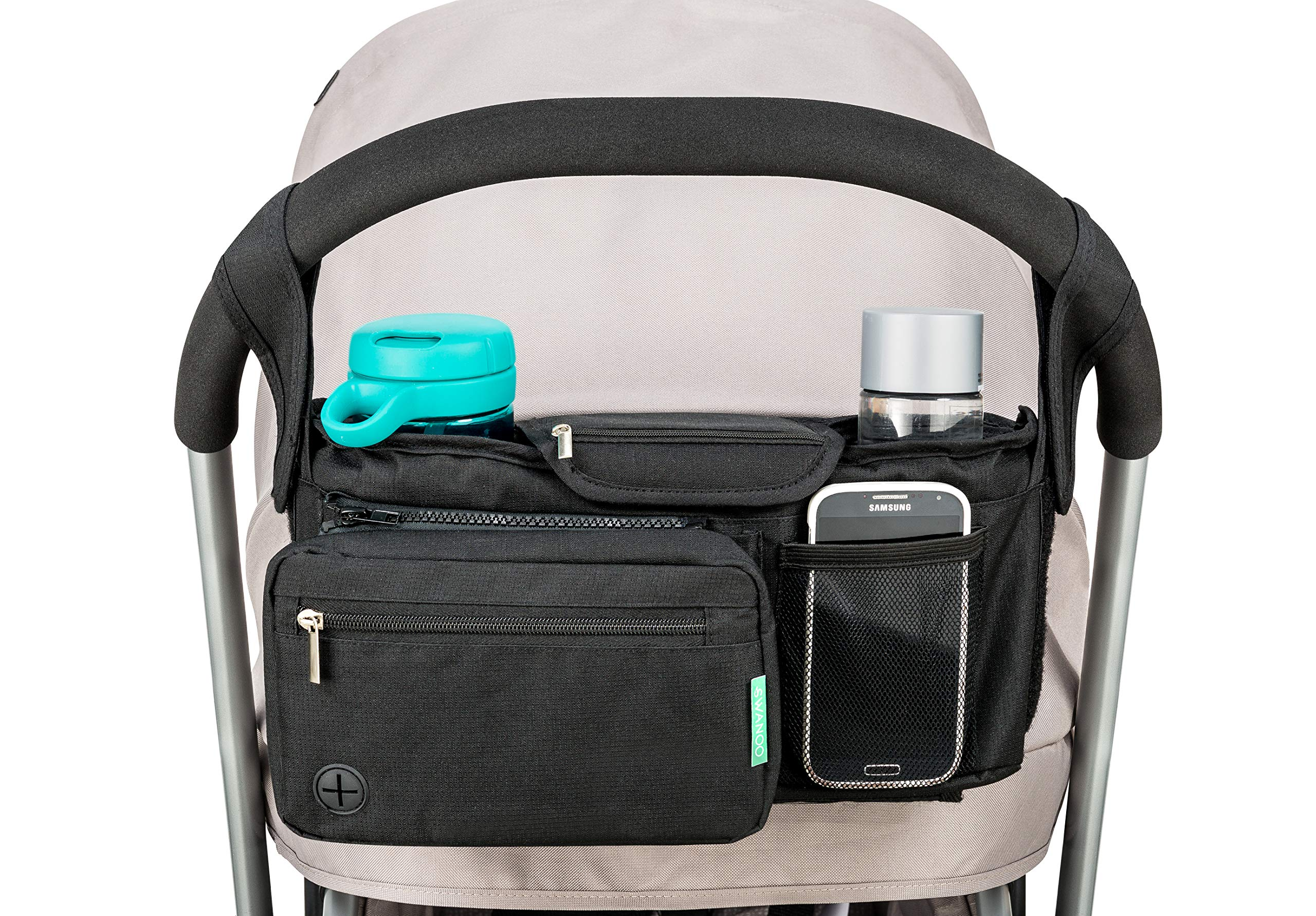 STROLLER ORGANIZER with cup holders NON-SKID strap FITS ALL strollers, Compact Mirror, Storage for Phone, Wallet, Toys, BEST BABY SHOWER GIFT! by SWANOO best stroller caddy! by Swanoo (Image #7)