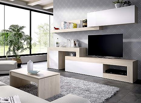 LIQUIDATODO ® - Composición de salon modular 260 cm moderna y barata en natural y blanco brillo