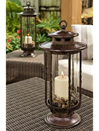 H Potter Small Decorative Hurricane Lantern Glass Candle Holder, Cast Iron,  Rustic Indoor U0026