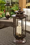 H Potter Small Decorative Hurricane Lantern Glass Candle Holder, Cast Iron, Rustic Indoor & Outdoor Light with Powder Coat Finish–Ideal Centerpiece for Home, Wedding & Farmhouse Decor