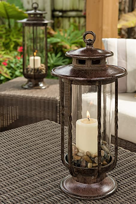 H Potter Small Decorative Hurricane Lantern Glass Candle Holder Cast Iron Rustic Indoor
