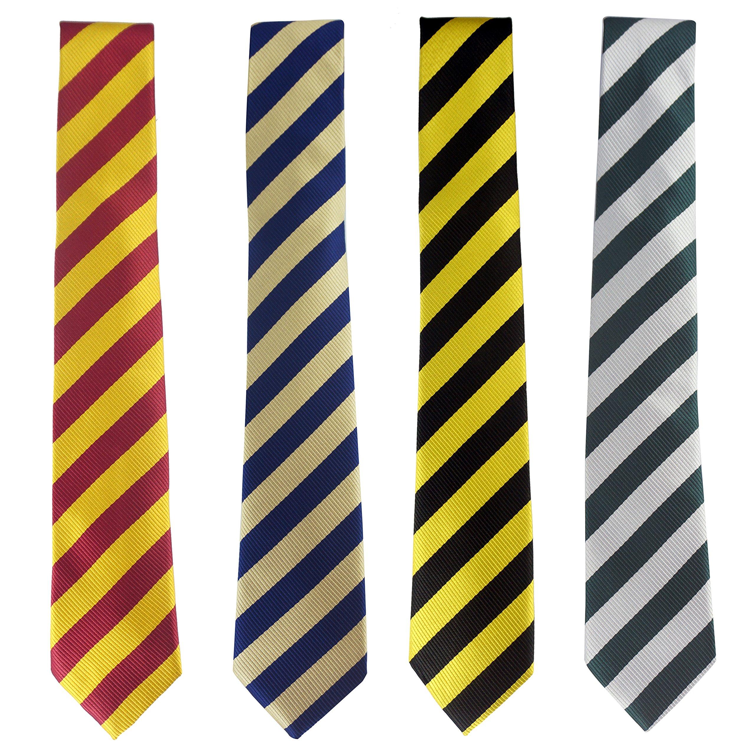 LilMents 4 Pack Pinstriped Formal Necktie Tie Set (Multicolored Set B)