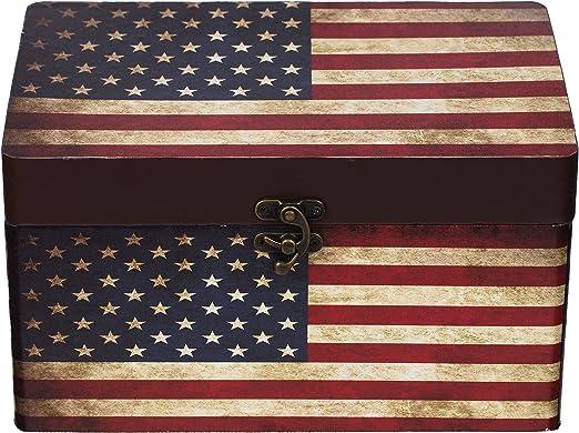 Cofre 11A6028 EE. UU., Caja de madera cofre del tesoro, caja, cofre pirata, decoración cofre colonial, caja de madera, caja de madera / metal, beige, tamaño L 26cm x 16cm x 14cm:
